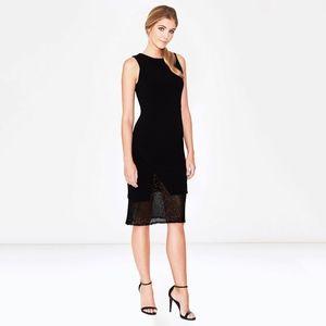 parker • racquel beaded hem midi black lbd dress